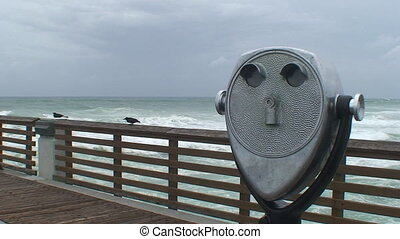Ocean Viewer on the boardwalk before a storm moves in.
