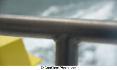 Ocean wake behind a ship