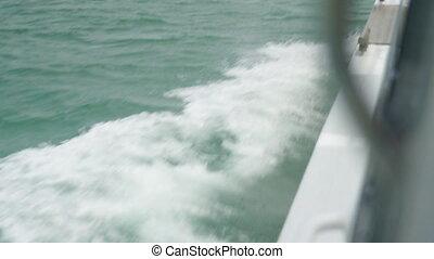 Ocean wake created by a ship