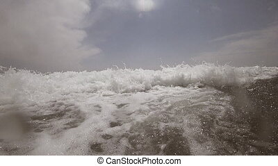 Ocean Wave Breaking in front of you, slow-motion - Inside...