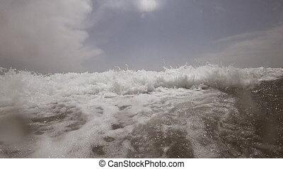 Ocean Wave Breaking in front of you, slow-motion - Inside...
