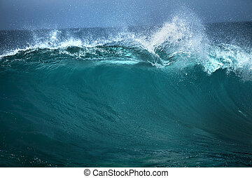 Ocean wave,  good use of white text advertising on blue background