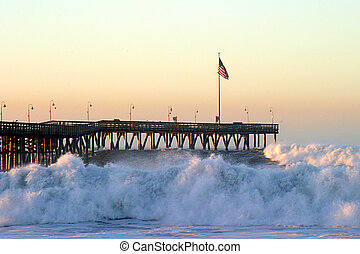 Ocean Wave Storm Pier - Ocean waves throughout at storm...