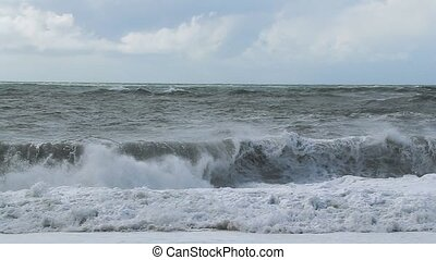 Ocean waves breaking - Huge waves of the ocean hitting the...
