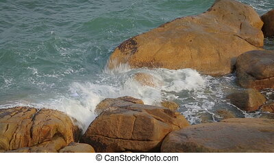 Ocean Waves Breaking On The Rocks