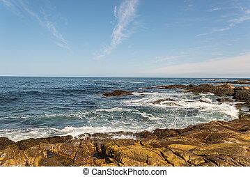 Ocean waves crashing against shore