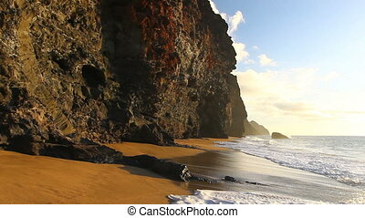 ocean waves crashing tropical beach - ocean waves crashing...