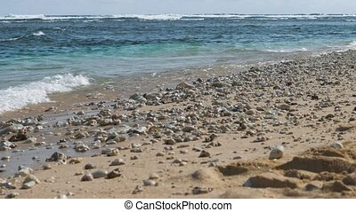 Ocean waves lapping on the sand beach with some stones. Riff waves in background