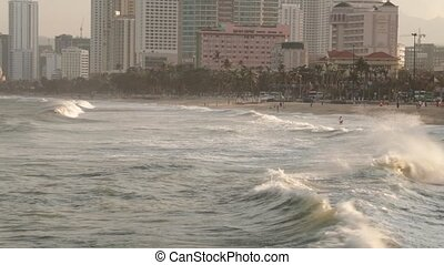 Nha Trang, Vietnam, Asia, February 12 2018. Looking out over the south China sea with large waves hitting the coastline.