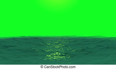 Ocean waves on a Green Screen Background