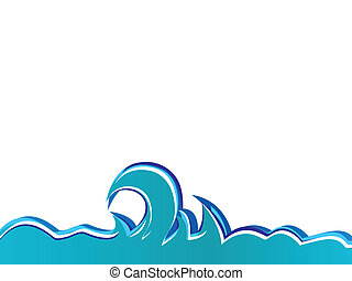 Ocean waves on a white background. Vector illustration.