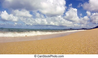 Ocean waves on tropical sand beach