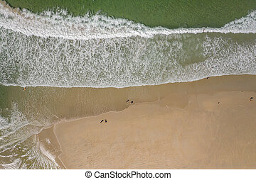 ocean waves, sandy beach, view from drone, Carnota beach, Galicia, Spain