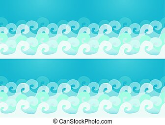 Ocean waves seamless pattern, vector illustration