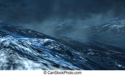ocean waves storm, close up, 3d animation, with sky, fog, foam, stormy weather