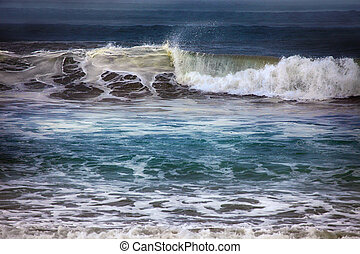 Ocean waves throughout at storm. Indian ocean. Bali. Indonesia