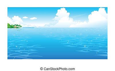 Ocean with clouded sky - This illustration is a common...
