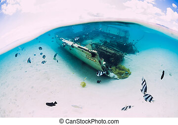 Ocean with wreck of boat on sand bottom and tropical fish underwater in Mauritius