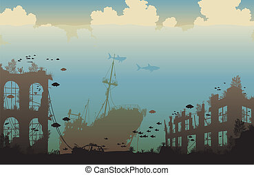 Ocean wreckage - Editable vector illustration of marine life...