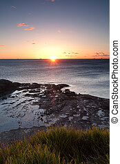 ocean, wschód słońca, na, wollongong