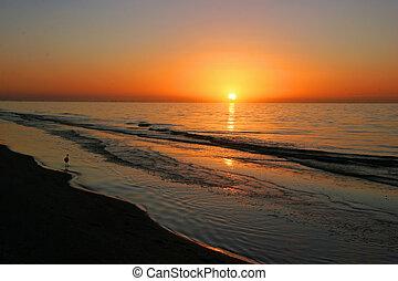 ocean, wschód słońca