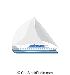 Ocean yacht side view isolated icon