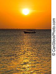 ocean, zachód słońca, zanzibar