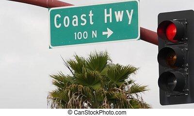 ocean., znak, kalifornia, historyczny, brzeg, turysta, cała-...