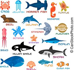 Oceanarium ocean animals and fishes with names