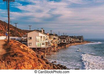 Oceanfront homes of Malibu beach in California