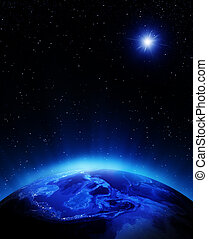 Oceania and polynesia at night. Elements of this image furnished by NASA
