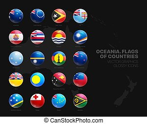 Oceania Countries Flags Vector 3D Glossy Icons Set Isolated On Black Background. Oceanian Official National Flags Vivid Bright Color Bulging Round Buttons Design Elements Collection
