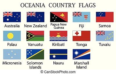 Oceania countries flags-Vector