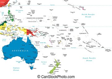 Oceania map - Highly detailed vector map of Oceania with...