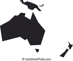 oceania., tom, karta, vektor, politisk, grå, illustration, australien