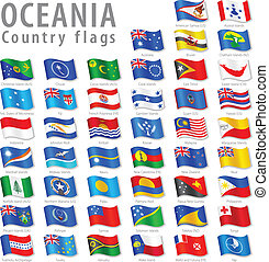 oceanian, vektor, satz, fahne, national