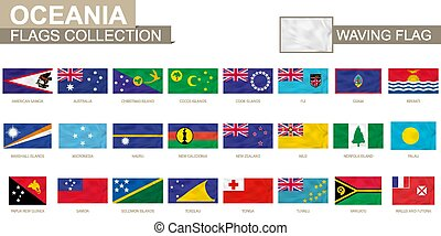 Oceanian waving flag collection. Vector illustration.