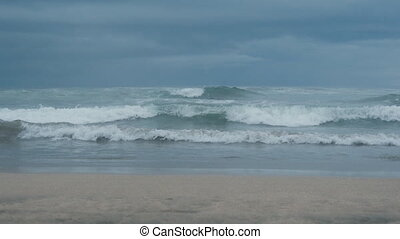 Oceanic view with big waves on Bali before the storm - Sea...
