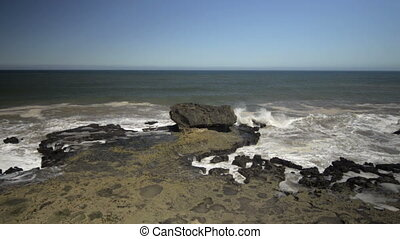 Oceanic waves against rocks in Africa, Morocco, Essaouira city. Top view