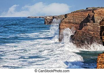 oceaniczny, o, trzęsie się, złamanie, przybrzeżny, fale