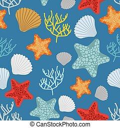 oceaniczny, polyps., klamra, budowla, podwodny, ozdoba, powłoki, pattern., seamless, rozgwiazda, muszelka, tło., wektor, corals., rocznik wina, marynarka