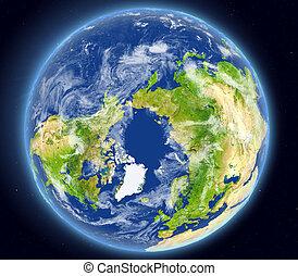 oceano ártico, de, espaço