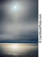 oceano ártico, e, sol meia-noite