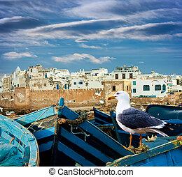 oceano azul, marrocos, barcos pesca, costa, essaouira