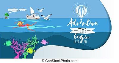 oceano azul, menina bonita, caricatura, natação