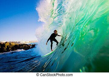 oceano azul, surfista, onda