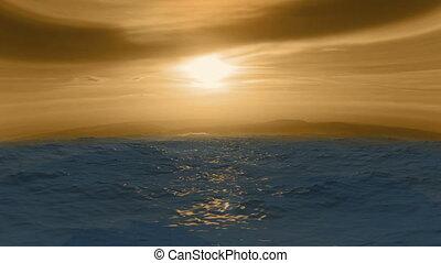 oceano azul, vista, com, nuvens, ligado, a, horizonte