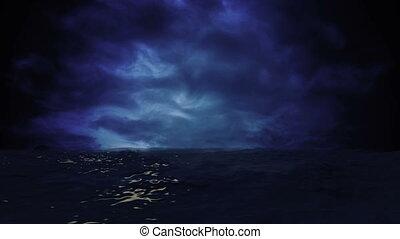 oceano azul, vista, com, tempestuoso, nuvens, ligado, a,...