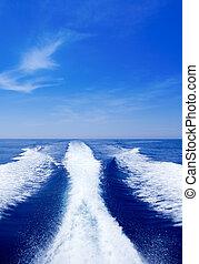 oceano blu, lavare, scia, mare, puntello, barca