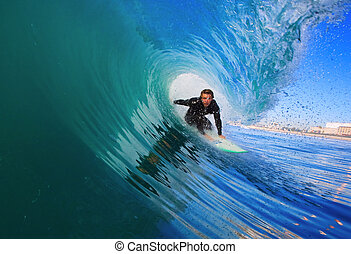 oceano blu, surfer, onda